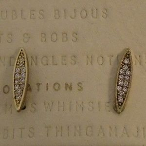 ANTHROPOLOGIE DOUBLE LINE PAVE ROSE GOLD STATEMENT